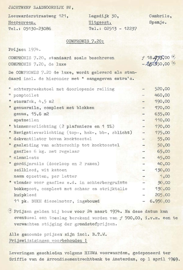 Pricelist Compromis 720 1974