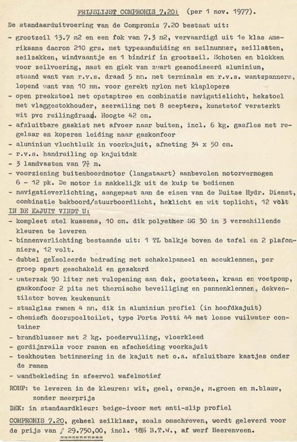 Pricelist Compromis 720 1977 1